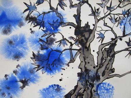 Olivenbaum in blau - Beate Simon